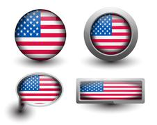 Stock Illustration of us flag icons
