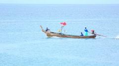 Longtail boat near bang Karon beach in Phuket island. Stock Footage