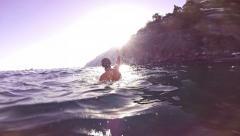 Success Joy Winner Swimmer Water Business Joy Slow Motion Hands Air Screaming Stock Footage