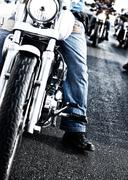 Bikers riding motorbikes Stock Photos