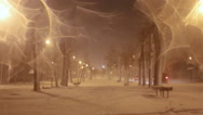 Stock Video Footage of Driving in the snowfall. Night snowstorm  on street
