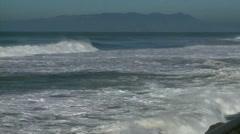 Ocean Heavy Surf on California Coastline Stock Footage