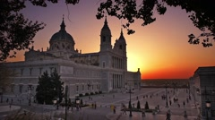 madrid, spain at la almudena cathedral and the royal palace. - stock footage