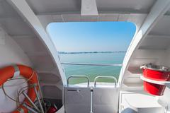 side entrance of boat - stock photo