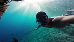 Man Underwater  Hand Water Silhouette Person Sport Fitness Summer Man Boy Nature Stock Footage