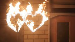 Fire Show: Two hearts of fire Stock Footage