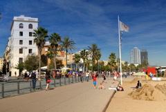 Barcelona Beach Boardwalk NTSC Stock Footage