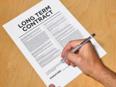 Man Signs Long Term Contract NTSC - stock footage