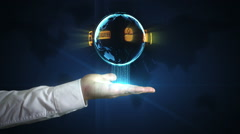 Digital world in your hands - information at your fingertips Stock Footage