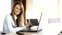 Business lady working in the office Stock Footage