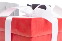 gift with paper shopping bags - stock photo