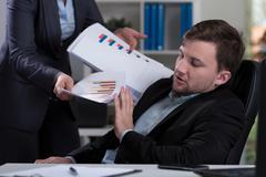 overworked employee refusing work - stock photo