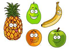 Cartoon apple, banana, orange, pineapple and pear fruits Stock Illustration