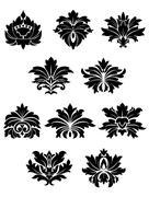 Lush black floral design elements Stock Illustration