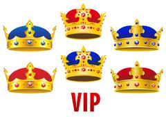 cartoon golden crowns with jewels and velvet - stock illustration