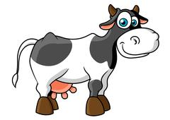 Smiling cartoon spotted cow character Stock Illustration