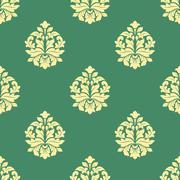 seamless flourish pattern with dainty buds - stock illustration