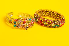 ornamental decorated braclets - stock photo