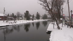 Winter day in downtown Minden Ontario Stock Footage