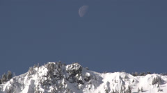 Snow Ridge Winter Landscape With Moon Stock Footage