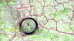 Compass On Map With Spinning Dial Stock Footage