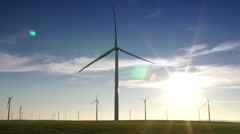 Wind Turbine Farm, Green Pastures & Fast Moving Clouds Stock Footage