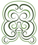 vector pattern. green tint ornament. tattoo style - stock illustration