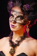 girl in masquerade mask - stock photo