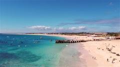 Aerial view of Santa Maria beach in Sal Cape Verde - Cabo Verde Stock Footage