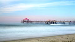 Huntington Beach Pier Time Lapse Stock Footage