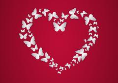Heart of white Butterfly. Vector illustration. Stock Illustration