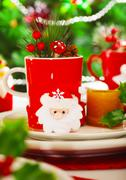 Christmastime decoration for dinner Stock Photos