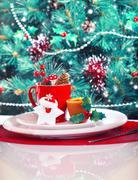 christmas eve table decoration - stock photo