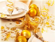 Christmastime table decoration Stock Photos