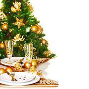 Christmas dinner border Stock Photos