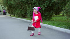 Little girl in a knitted hat autumn owls Stock Footage