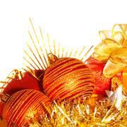 christmas tree balls border - stock photo
