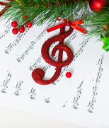 christmas treble clef - stock photo