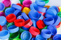 Colorful plastic bottle screw caps Stock Photos