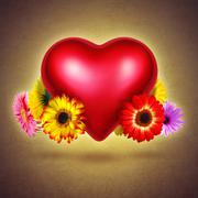 flowery heart - stock illustration