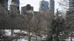 HD video of Central Park showing Upper West Side skyline, Manhattan, New York Stock Footage
