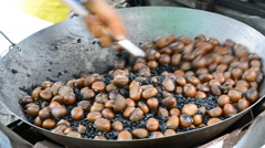 Roasting Chestnut simple (Three Shot) Stock Footage