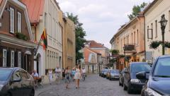 Valanciaus street in the old town of Kaunas, editorial  Stock Footage