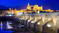 Cordoba, spain old town skyline Stock Footage