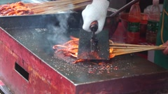 Grilled squid, in Shenzhen, Baoan Food Festival Stock Footage