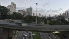 4K Time lapse Traffic Sao Paulo pan shot Stock Footage