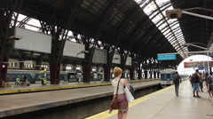 Train, passengers, station, travel, voyage Stock Footage