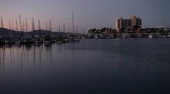 Boating marina at dusk Stock Footage