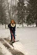 shoveling snow like a plow - stock photo