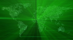futuristic animation with moving world map and lights, loop hd 1080p - stock footage